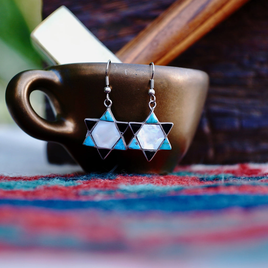 Native American 6 Point Star Earrings