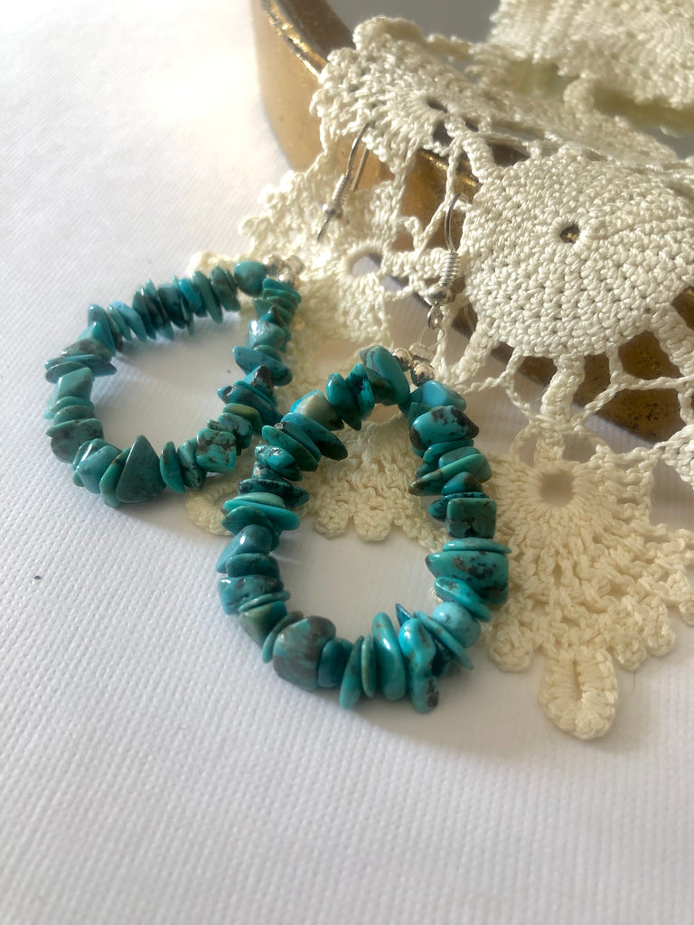 Raw Turquoise Hoop Earrings