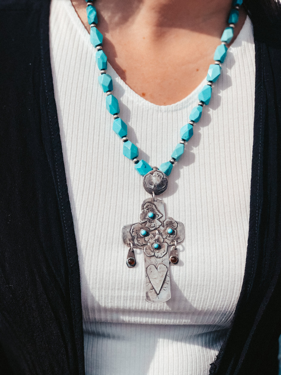 Long Turquoise Cross