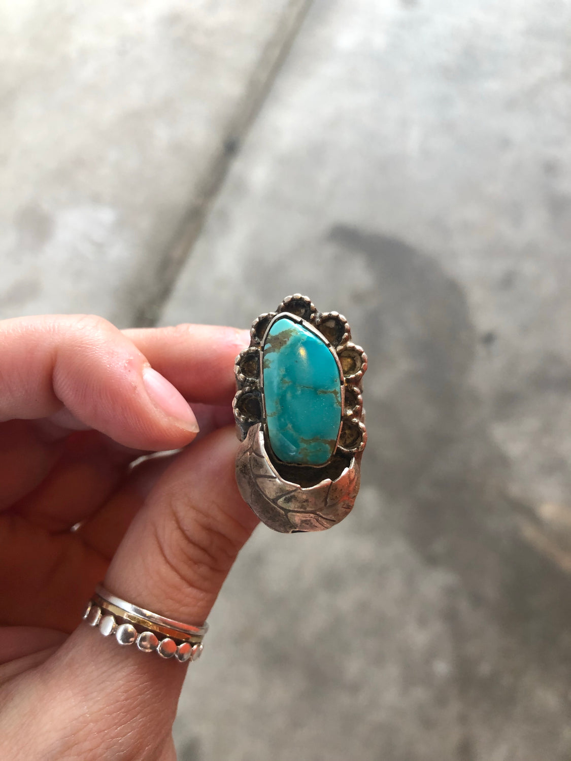 Large Turquoise Leaf Ring