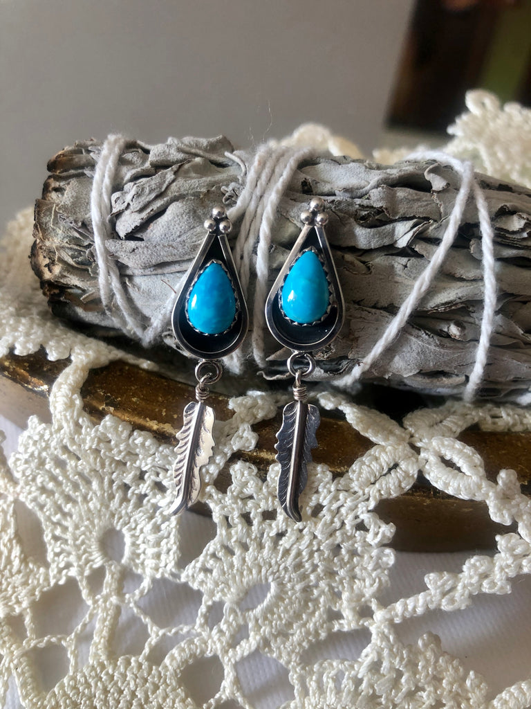 Turquoise Tear Drop Feather Studs