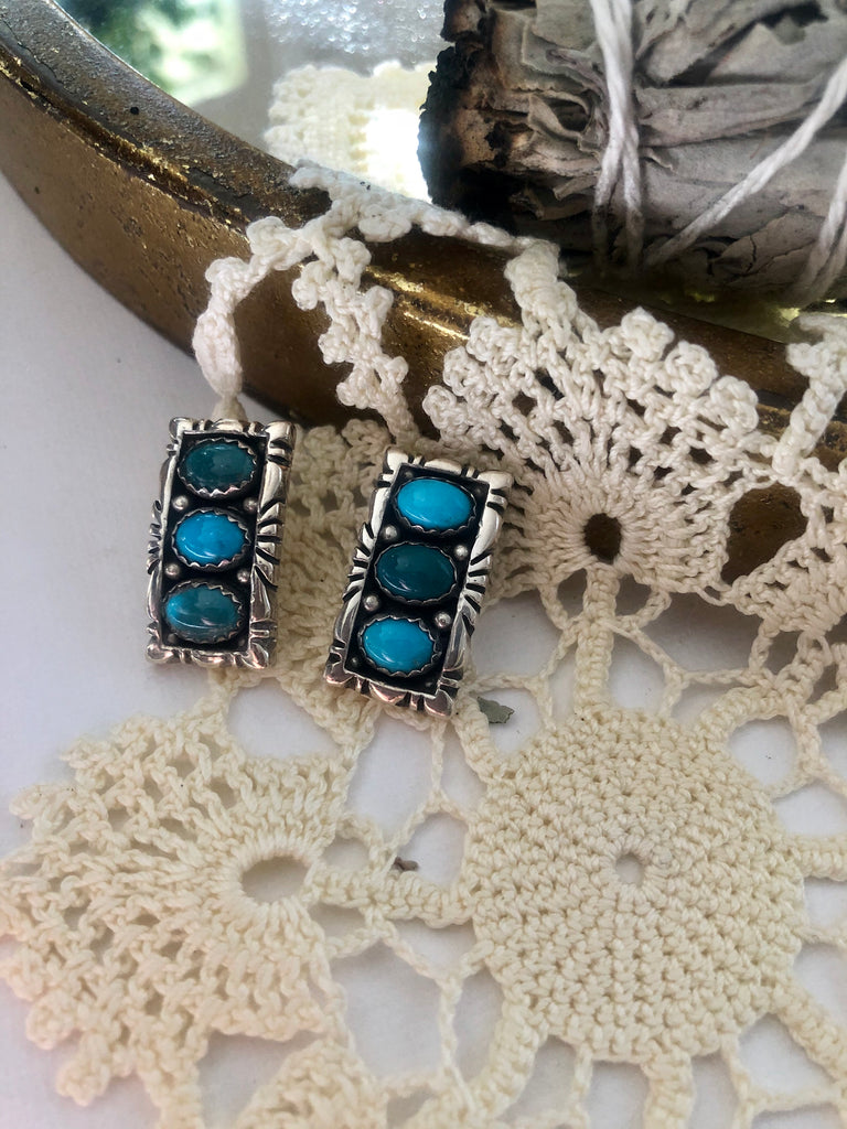 Turquoise Rectangle Studs