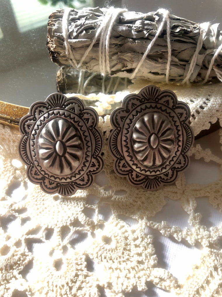 Large Sterling Concho Studs