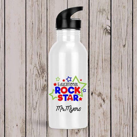 Teacher Drink Bottle Educational Rockstar Red Blue