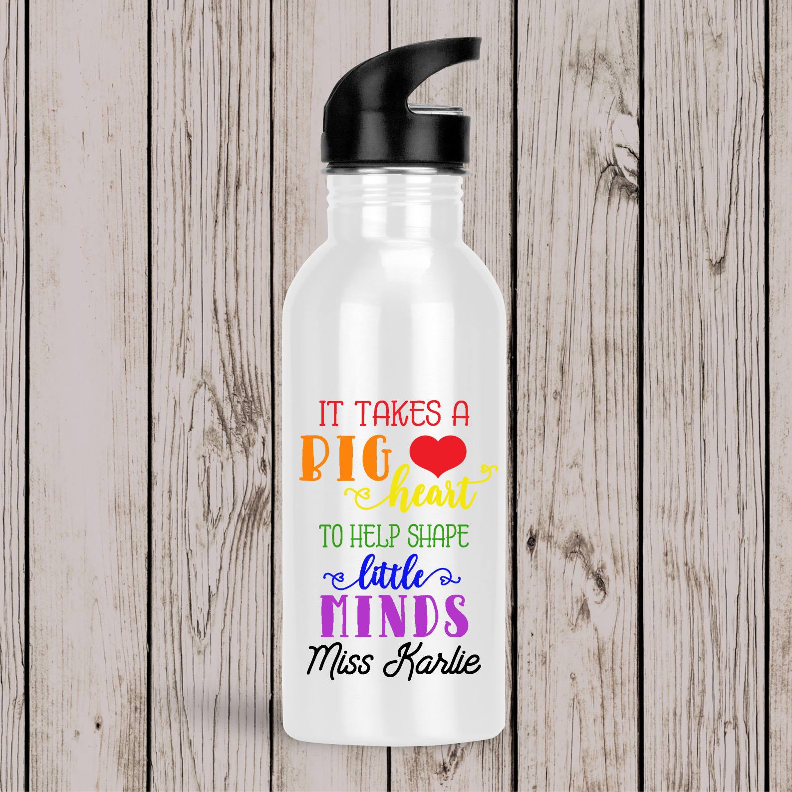 Teacher Drink Bottles Rainbow Big Heart