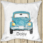 Sequin Cushion Cover - VW Aqua Beetle