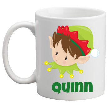 Christmas Mug Boy Elf Brunette