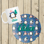 Festive Penguin mug and plate set