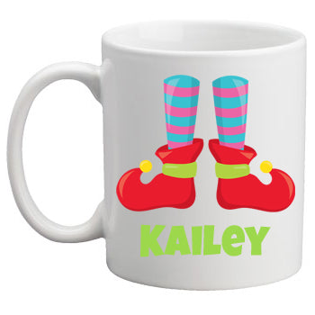 Christmas Mug Girl Elf Feet
