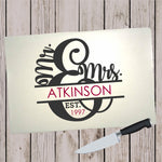 Glass Cutting Board - Mr and Mrs