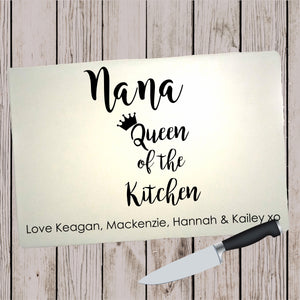Glass Cutting Board - Queen of the Kitchen