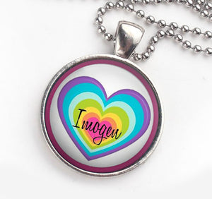 Personalised Pendant Necklace Rainbow Heart