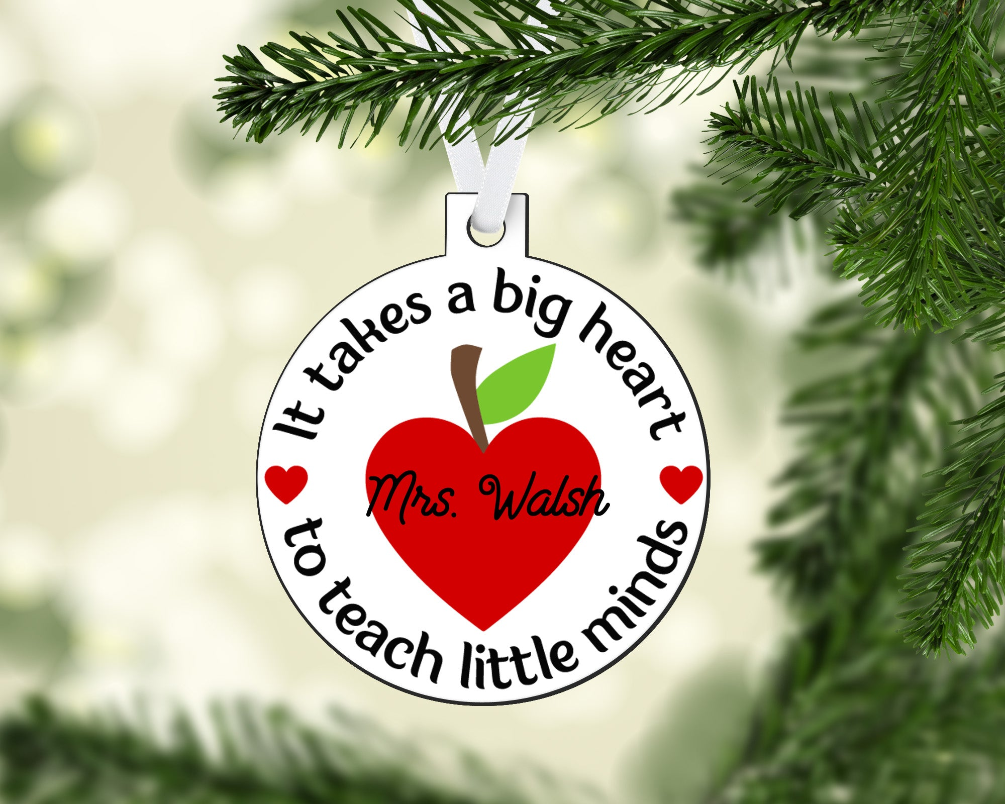 Teacher Apple Big Heart Ornament Round