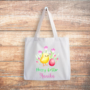 Easter Tote Bag Chick and Crocus