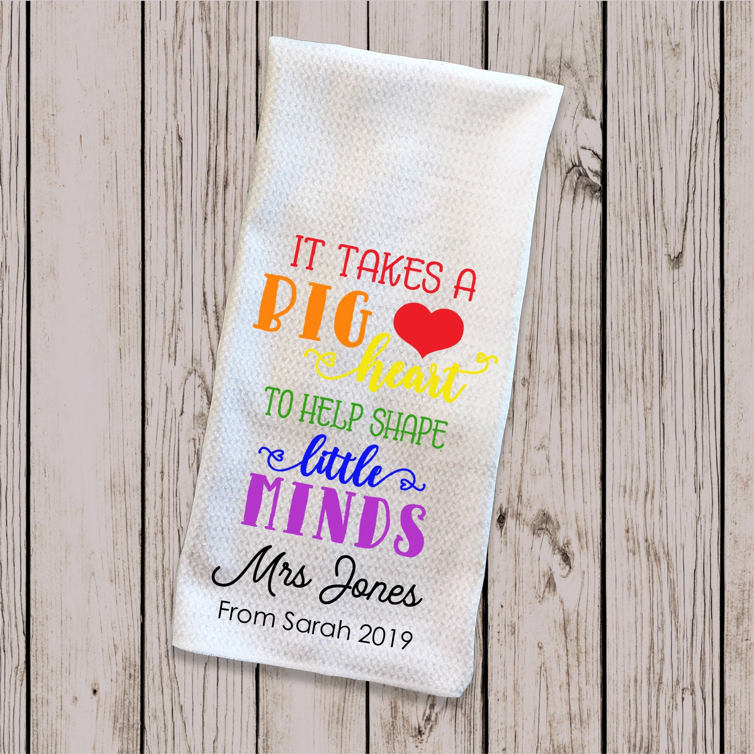 Tea Towel Big Heart Rainbow Colours