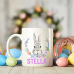 Easter Bunny with flower wreath mug