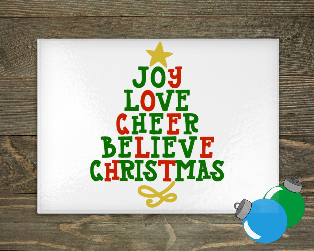 Glass Cutting Board - Christmas Tree words