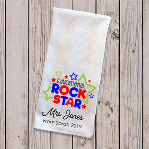 Tea Towel - Rock Star Teacher Red & Blue