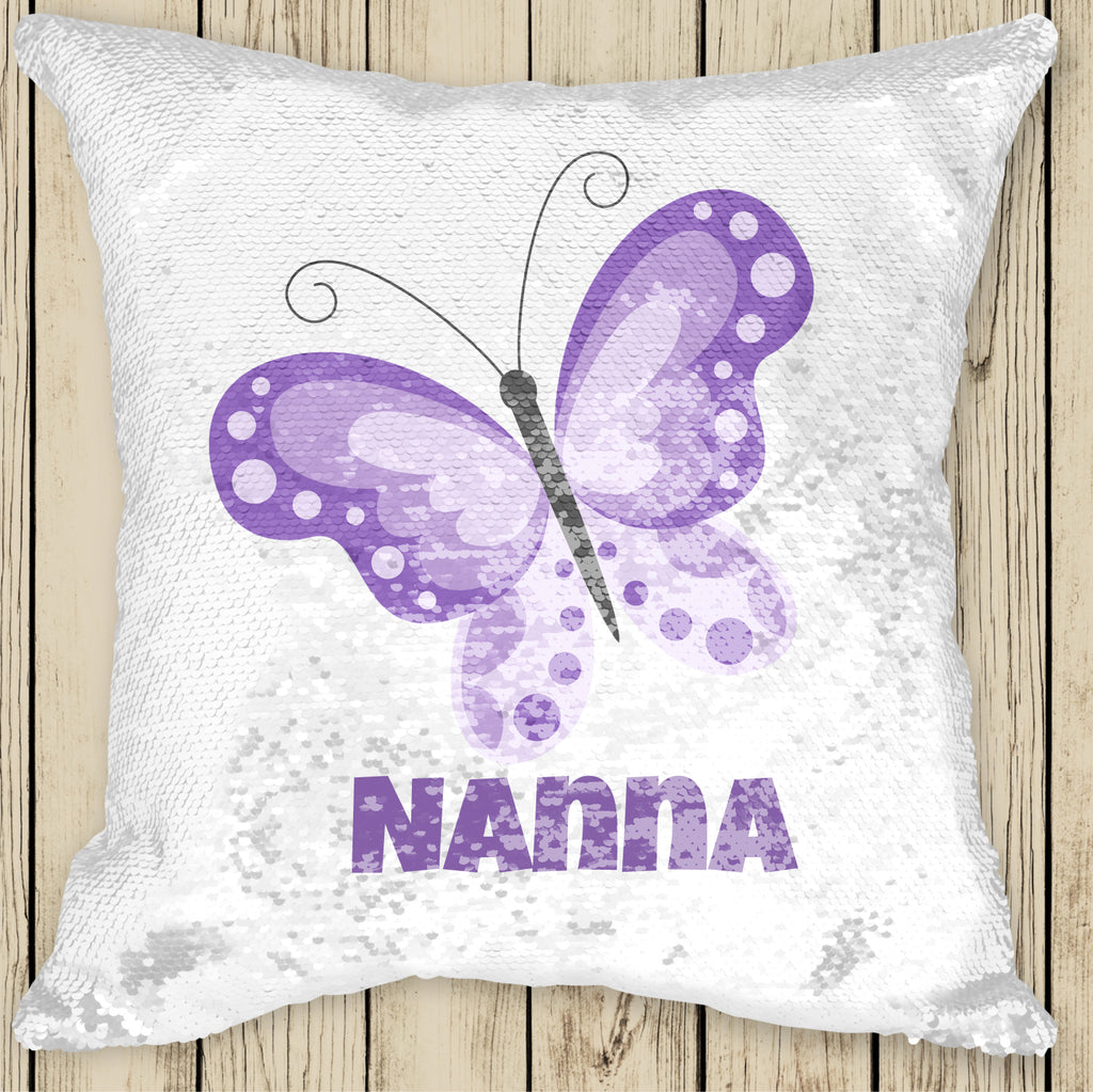 Sequin Cushion Cover - Butterfly lilac