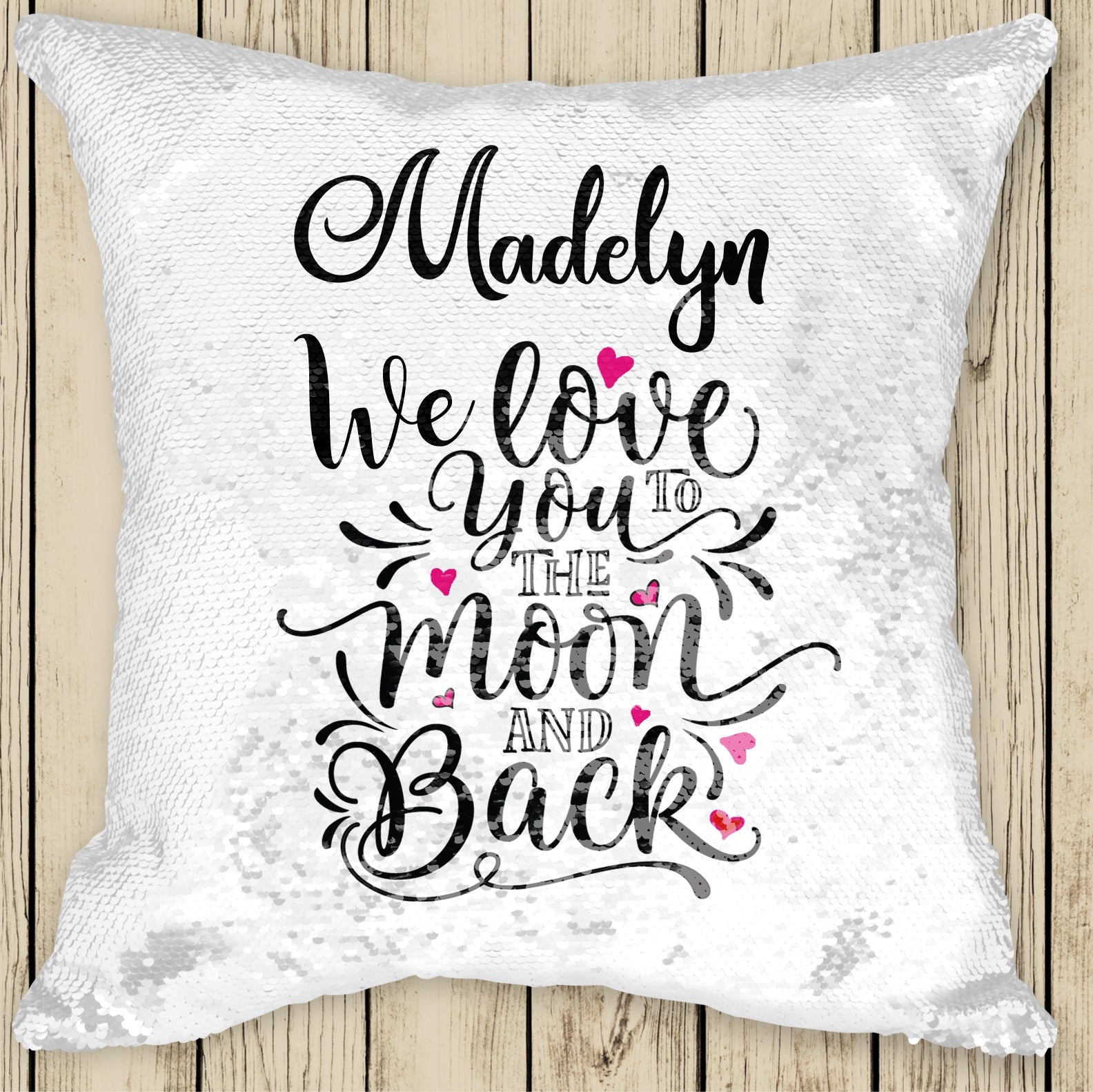 Sequin Cushion Cover - Love you to the Moon