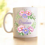 Peony Wreath - personalised Mothers Day Mug