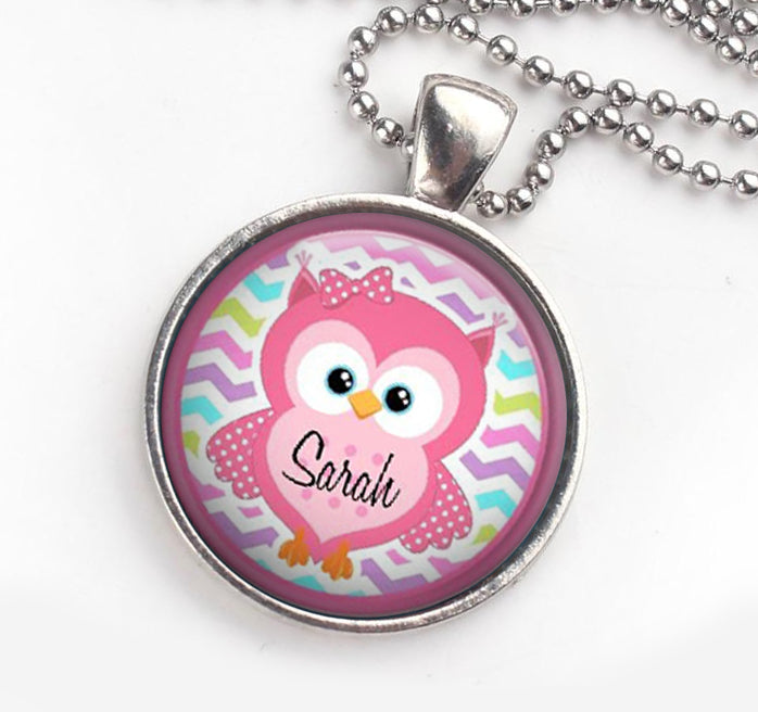 Personalised Pendant Necklace Owl Pink