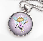 Personalised Pendant Necklace Fairy Purple