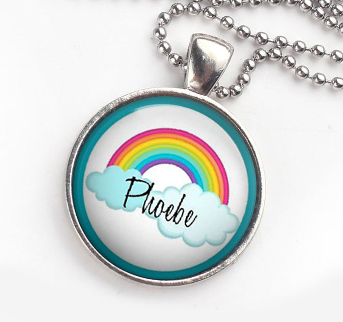 Personalised Pendant Necklace Rainbow