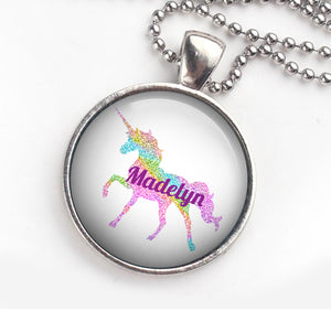 Personalised Pendant Necklace Glitter Unicorn