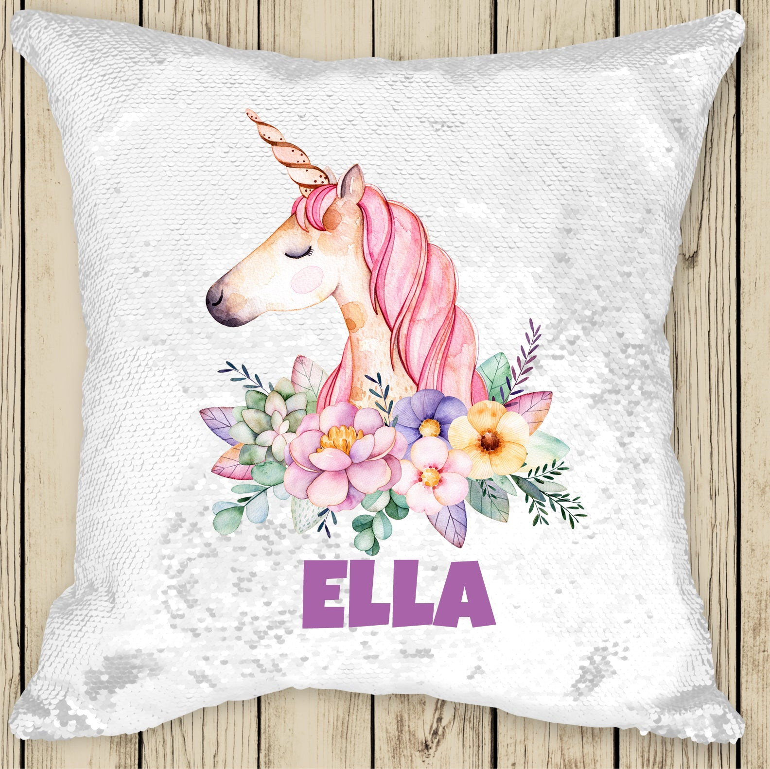 Sequin Cushion Cover - Unicorn Wreath