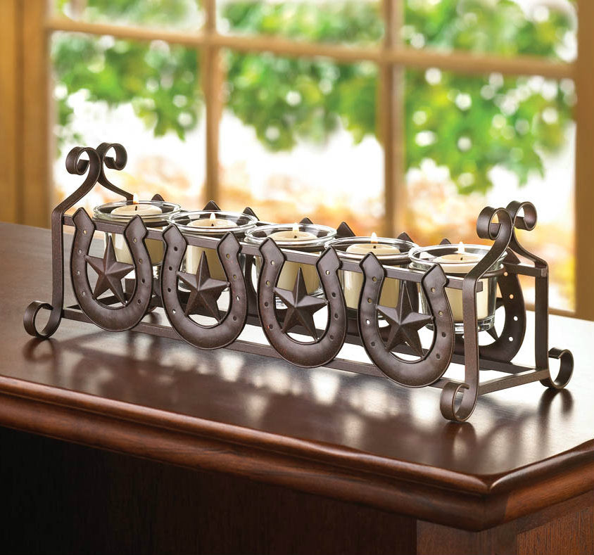 Iron Horseshoe Western Candle Holder