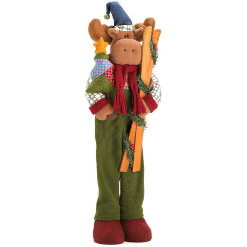 Merry Christmas Plush Moose with Skis