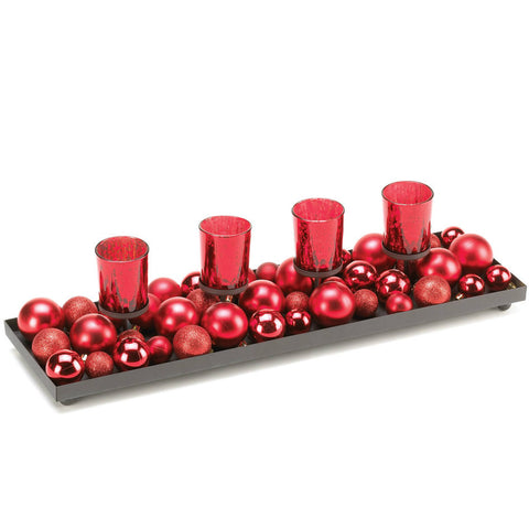 Festive Christmas Ornaments Candle Centerpiece
