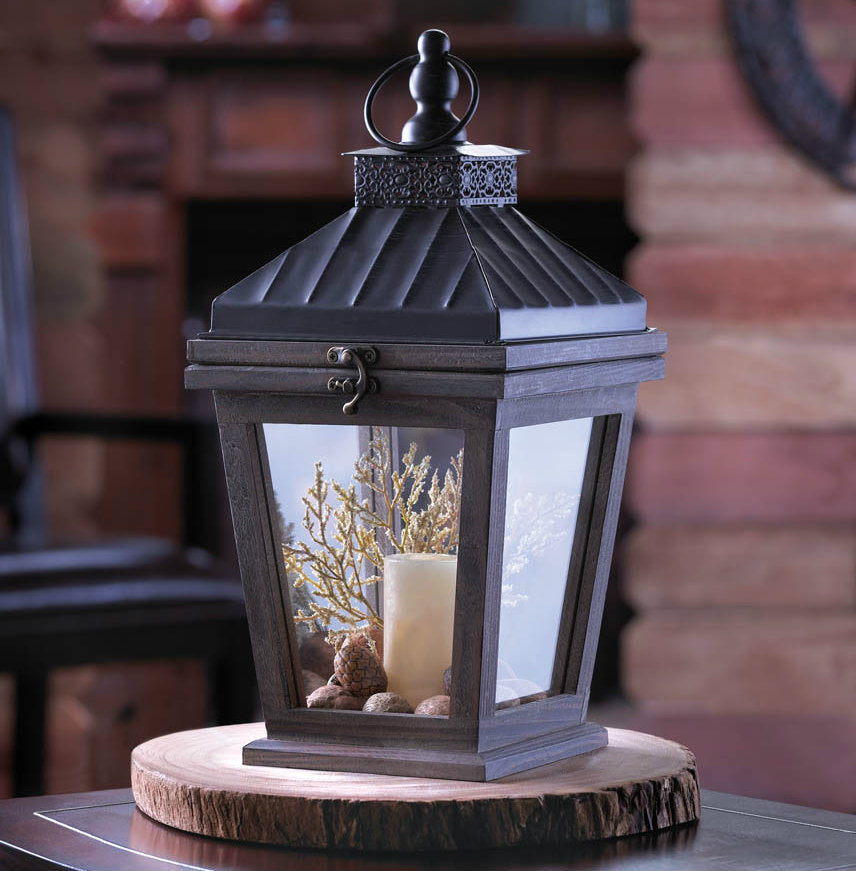Wood Candle Lantern with Metal Roof - 14.5 inches
