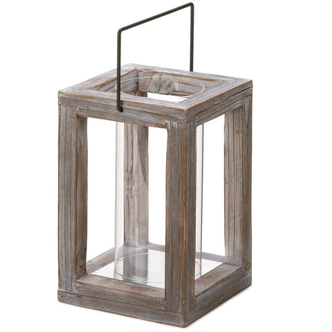 Weathered Garden Wooden Lantern
