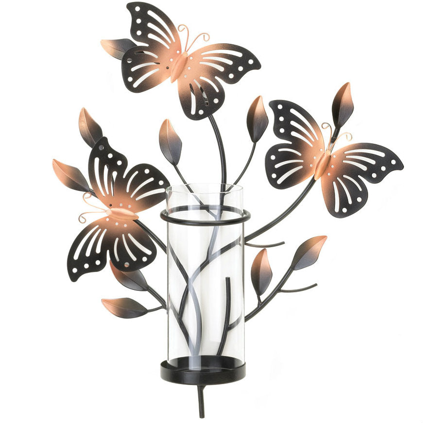 Metal Butterfly Wall Candle Holder