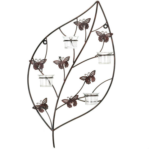 Leaf Wall Candle Holder with Butterflies