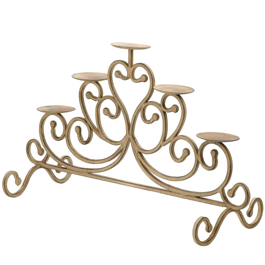 Antiqued Iron 5-Candle Stand