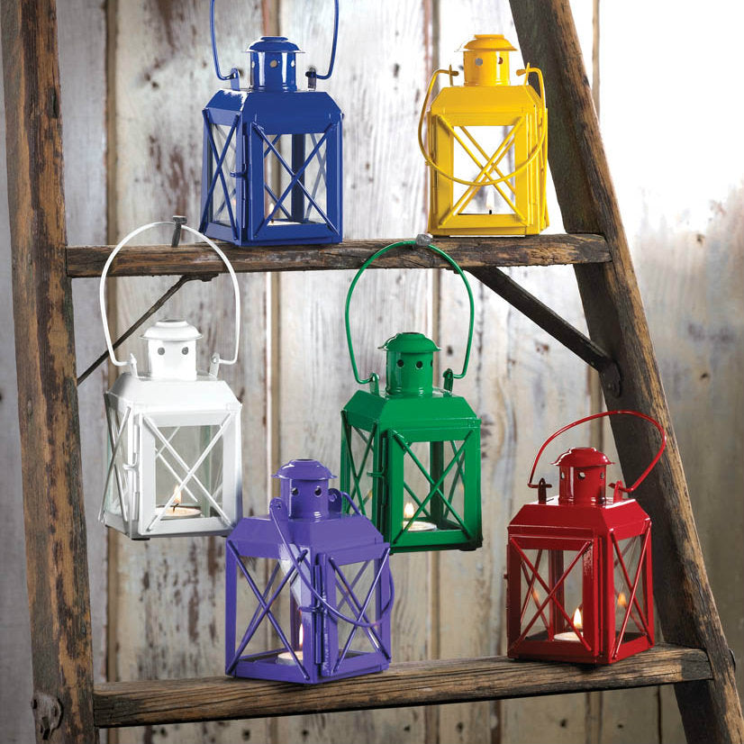 Railroad-Style Candle Lantern - Yellow