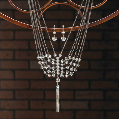 Vintage Crystal Tassel Jewelry Set