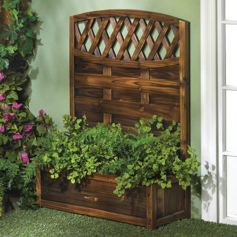 Wood Trellis Garden Planter Box