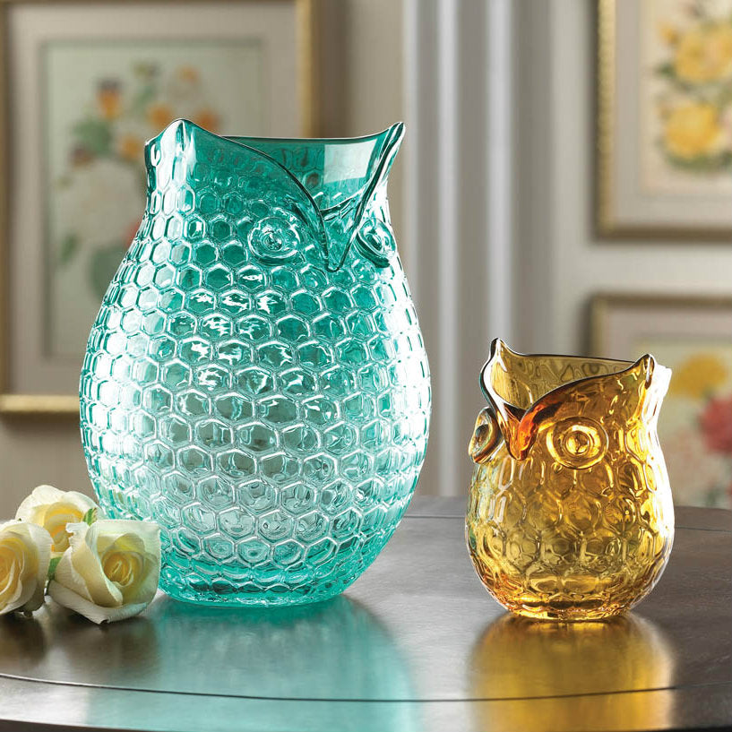Hand-Crafted Teal Glass Owl Vase
