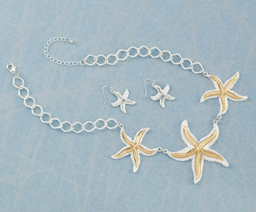 Gold and Silver Starfish Jewelry Set