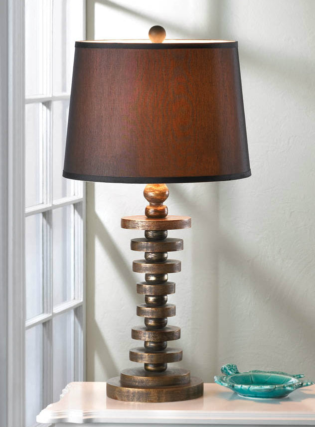 Layered Disc Wood Table Lamp