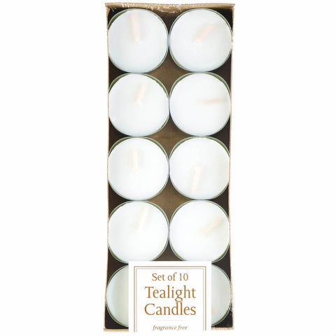 Pack of 10 White Unscented Tealight Candles