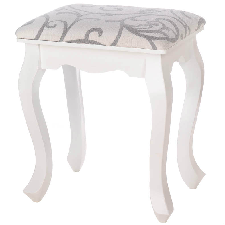 Romantic White Wood Foot Stool