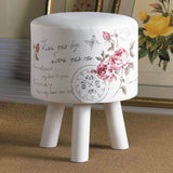 Floral Foot Stool with Handwriting Accents