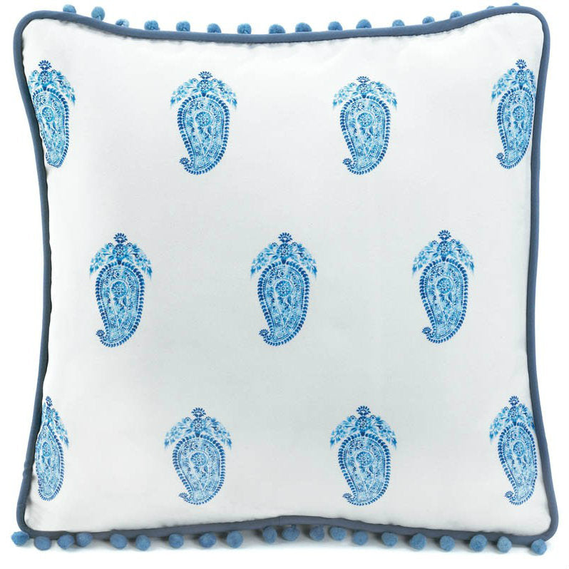Square White and Blue Paisley Throw Pillow