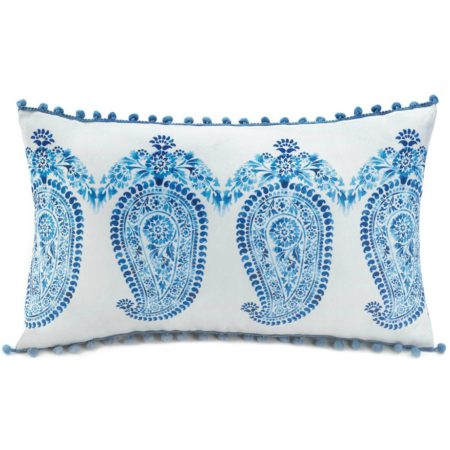 Rectangular White and Blue Paisley Throw Pillow