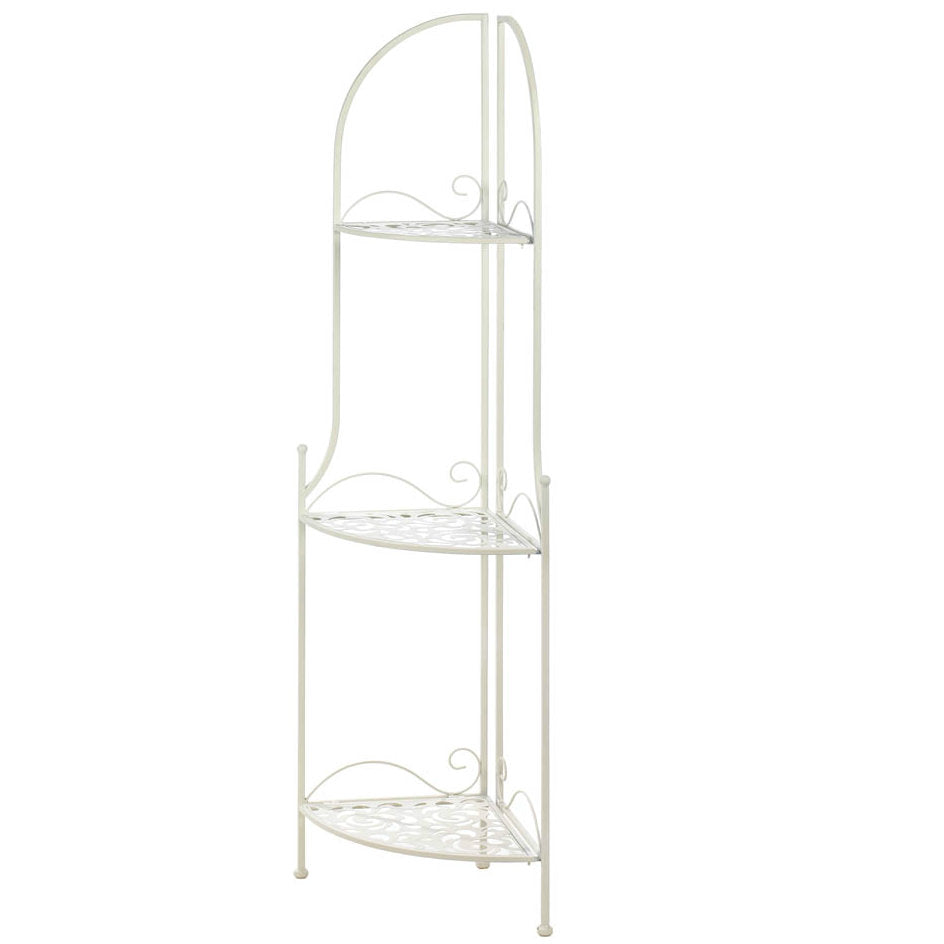 White Iron Lacy Corner Shelf Unit